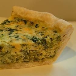 Light and Fluffy Spinach Quiche Allrecipes.com  - Read comments, reduce mayo, add 1 more egg, mushrooms, ham, deep dish pie crust