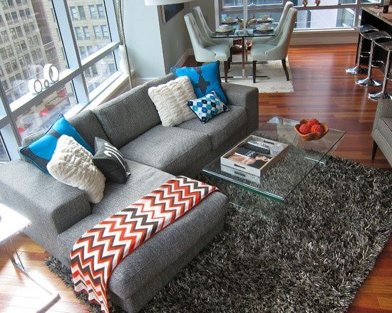 Small living room, love this sectional!