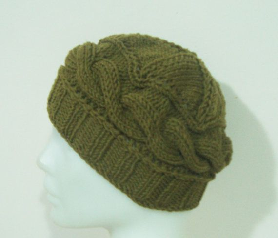 Small WOOL HAT for Women's Hat in Moss Green BEANIE by earflaphats