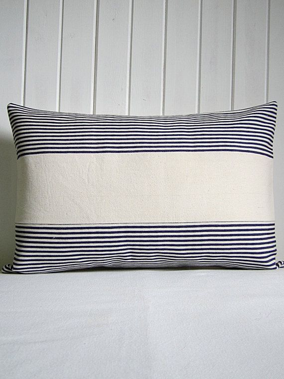 Maritime Pillow / Striped Lumber Pillow / by RenaissanceCushions