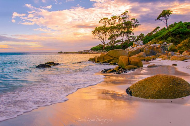 """Morning light at Binalong Bay in Tasmania"" - Photography by Jewelszee"