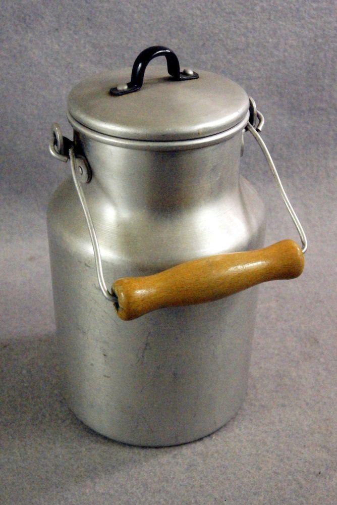 Milchkanne, Kanne mit Deckel, DDR, Aluminium, Ostalgie