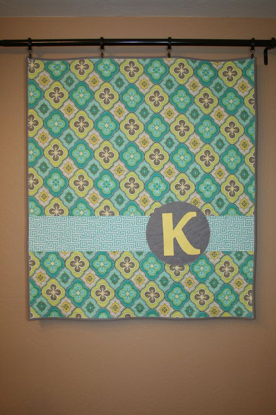 Teal Yellow And Grey Personalized Custom Modern Baby