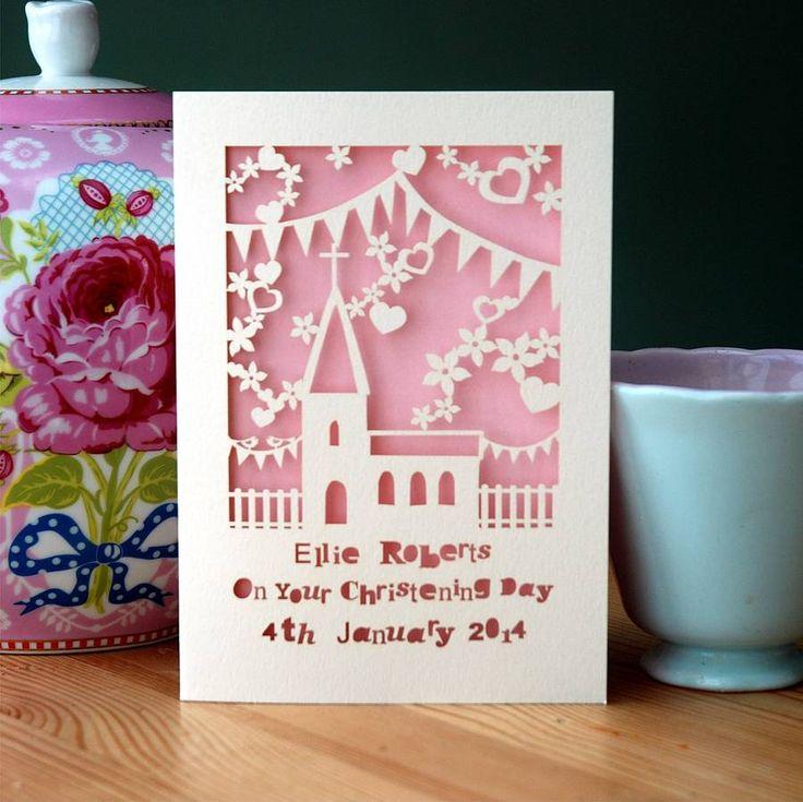 personalised papercut christening card by pogofandango   notonthehighstreet.com