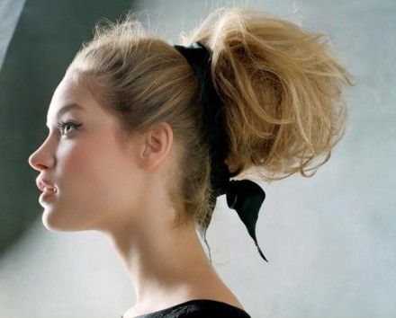 Big Messy Bun with Ribbon Tied - Hairstyles, Easy Hairstyles For Girls
