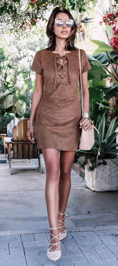 EXPRESS brown faux suede lace-up dress