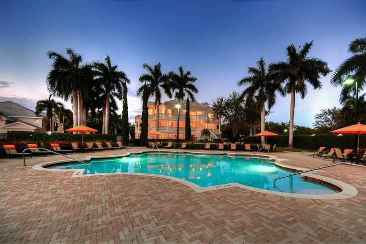 The Charleston Boca Raton Luxury Apartments outdoor pool at night