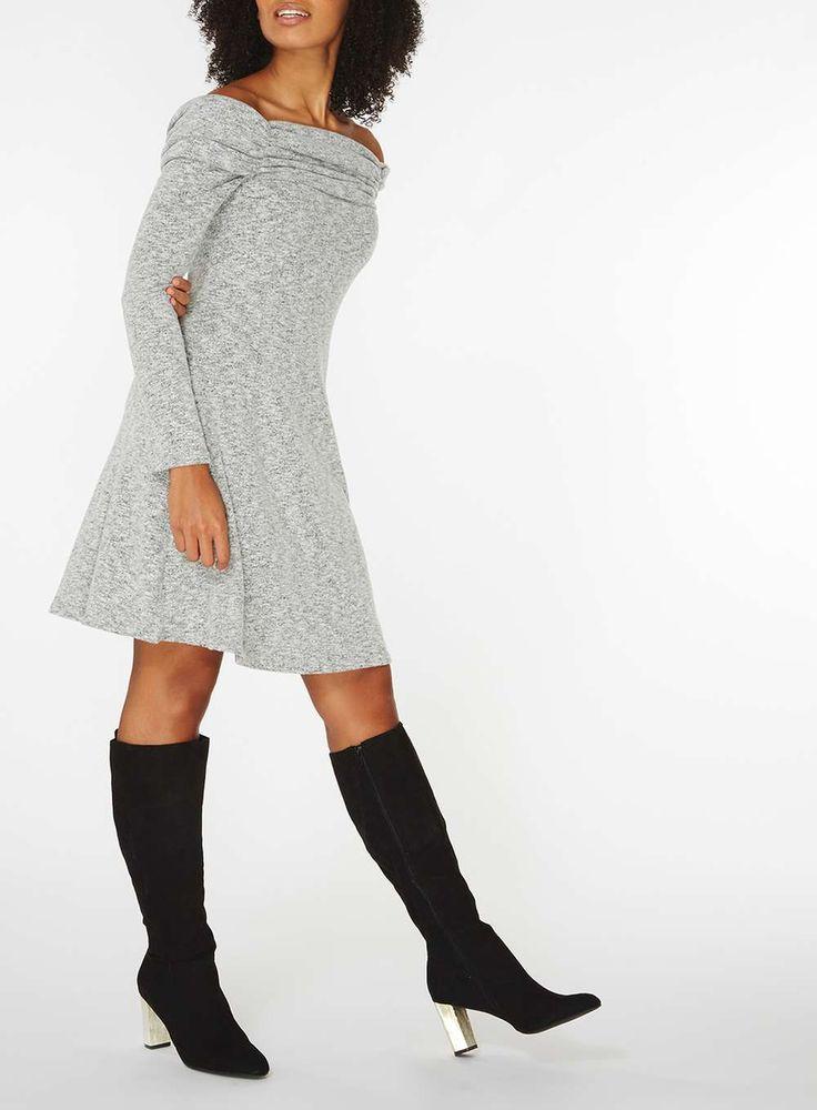 Womens Grey Ruched Foldover Bardot Skater Dress- Grey