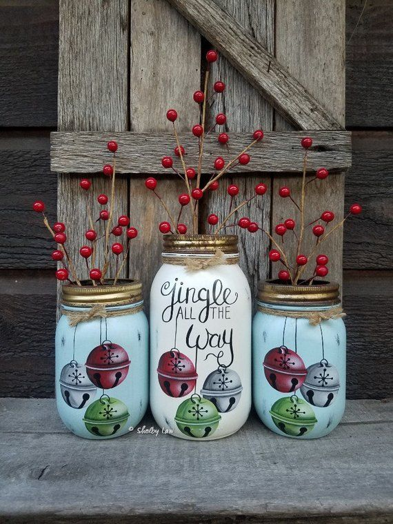 Set Of Three Jingle All The Way Jars Hand Painted Mason