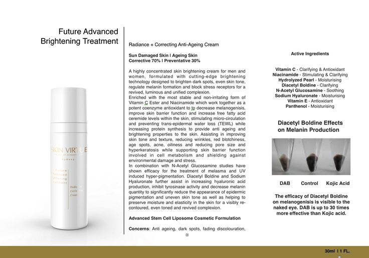 FUTURE ADVANCED BRIGHTENING TREATMENT | Radiance + Correcting Anti Aging Cream  A highly concentrated skin brightening cream for men and women, formulated with cutting-edge brightening technology designed to brighten dark spots, even skin tone, regulate melanin formation and block stress receptors for a revived, luminous and unified complexion.  Enriched with the most stable and non-irritating form of Vitamin C Ester and Niacinamide which work together as a potent antioxidant, anti aging and…