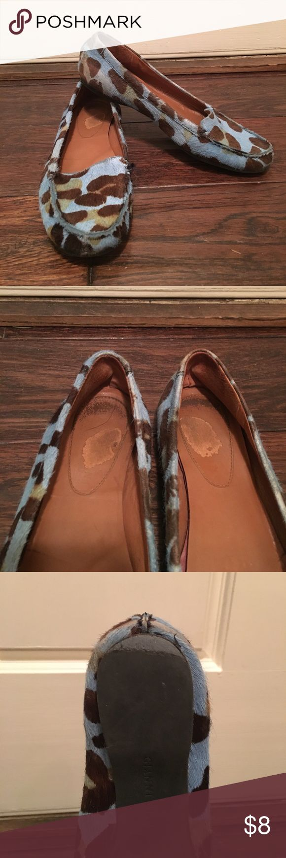 Blue leopard print loafers Calf-hair leopard print loafers. Worn in the heel. Gianni Bini Shoes Flats & Loafers