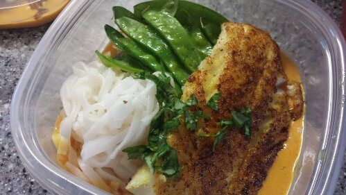 Pan seared turbot rubbed with Thai red curry, rice noodles and sauteed snow peas.  Friend That Cooks personal chefs in Kansas City and Wichita offer weekly meal prep for families with busy schedules, food allergies and dietary restrictions. Learn more at www.friendthatcooks.com.