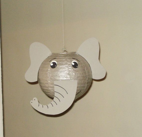Gray Elephant Paper Lantern. Safari Party by nicedecorations