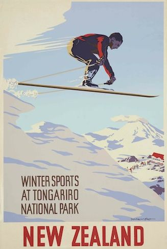 Winter Sports at Tongariro National Park Vintage NZ Poster for Sale - New Zealand Art Prints