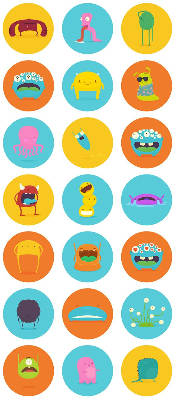 HoverChat Stickers by Thomas Fitzpatrick, via Behance