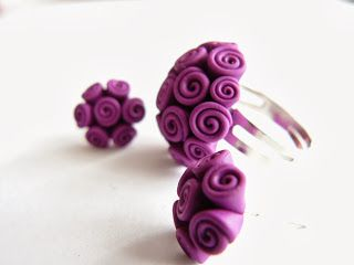 Ring and earrings from polymer clay.http://bijudiart.blogspot.ro/