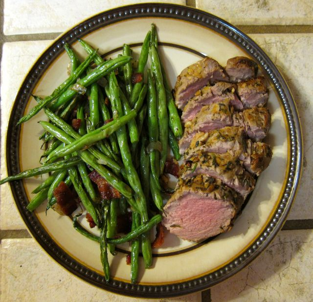 Herb Marinated Pork Tenderloin with Oven Roasted Green Beans