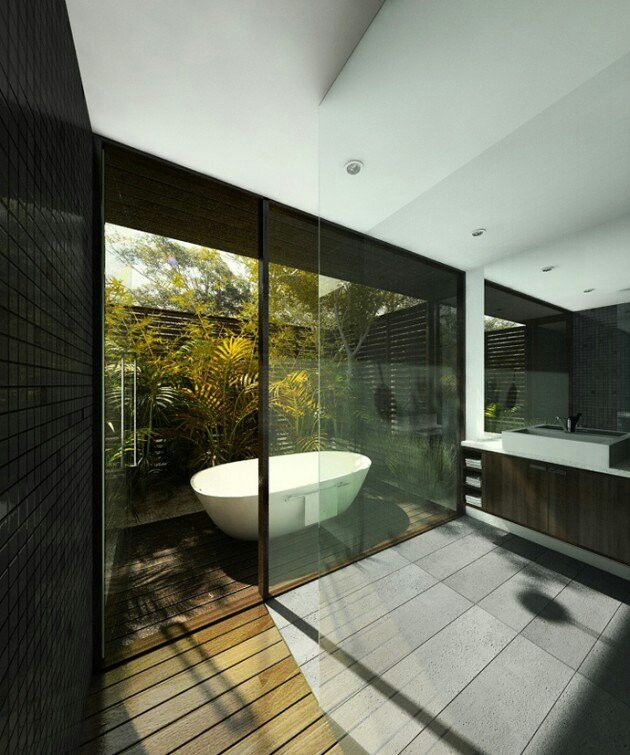 Open natural bathroom