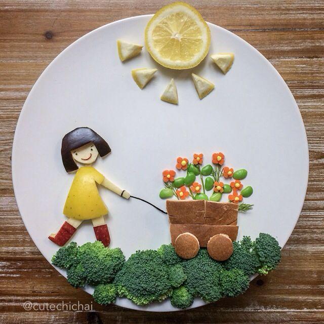 Food Art. Cute girl with a flower wagon. Love making random things.