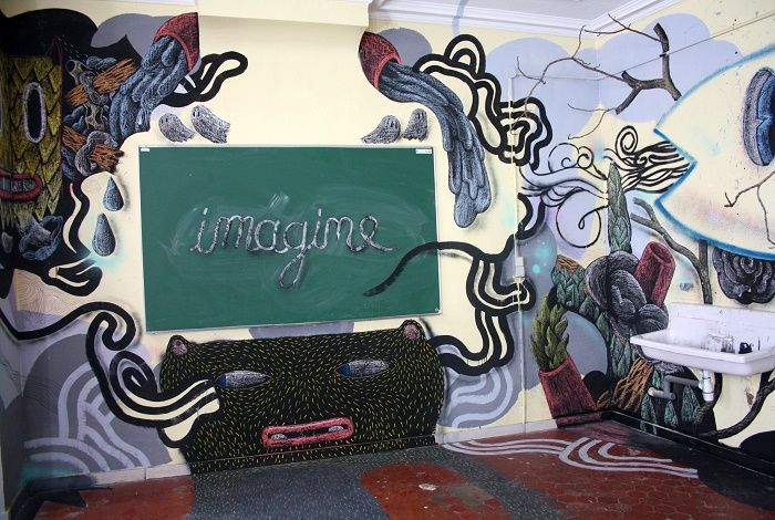 A room designed by an artist at this summer's must-see exhibition Aux Tableaux in a former Marseille school.