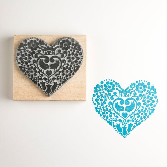 Two Birds Heart Rubber Stamp by noolibirdstamps on Etsy, £8.00