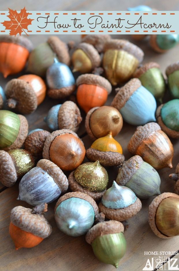 Pretty painted acorns for Thanksgiving decorating.