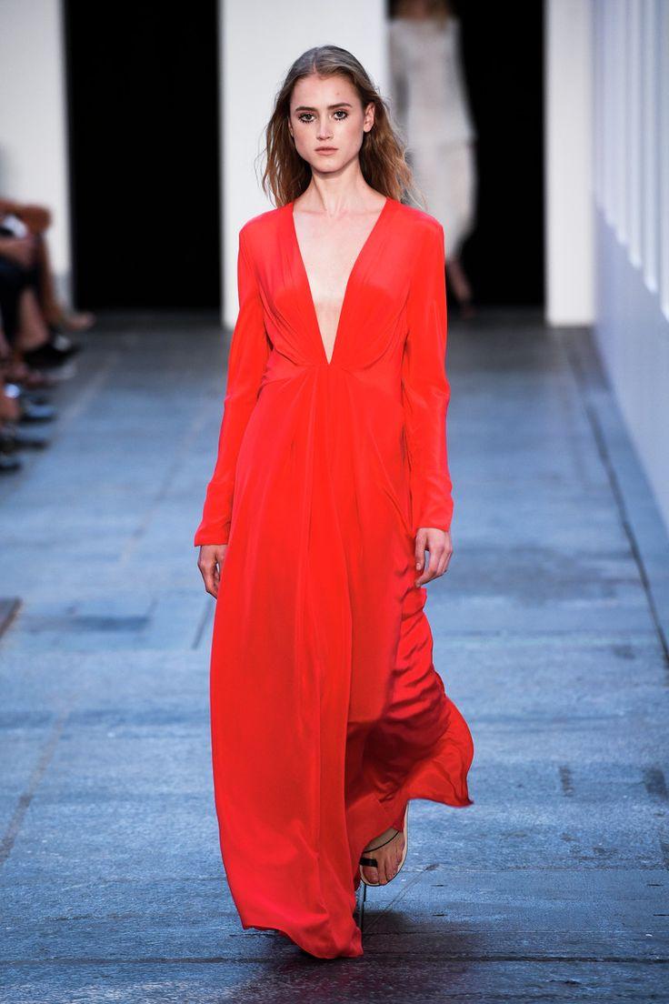 Red V neck dress by Malene Birger