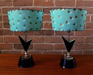 Mid-Century Modern •~• black & turquoise table lamps with Fiberglass shades