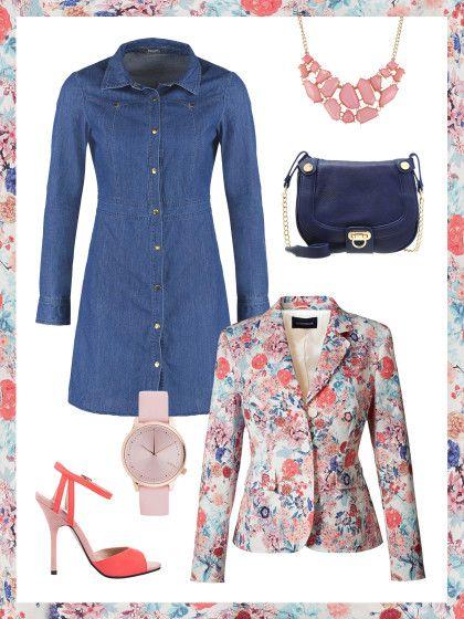 What to wear to work: dein perfektes Büro-Outfit. Einmal Blumenwiese to-go, bitte! Kein Problem, mit diesem Business-Look mit Jeanskleid und dem Blazer von Highmoor.
