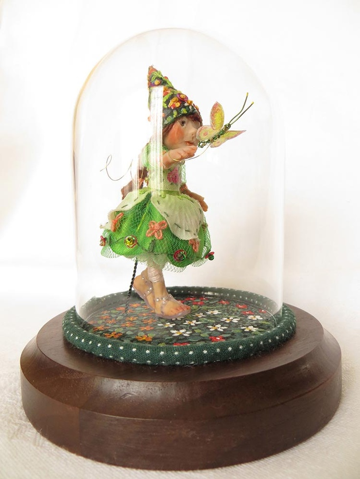 Lorelei: OOAK Miniature Art Doll with glass display dome on solid wood base. $195.00, via Etsy.