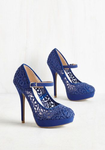 """When we say, """"Go big or go home,"""" what we really mean is to buckle into these royal blue stilettos and strut your stuff, stat! Flaunting floral embroidery that appears like crocheting, these Mary Jane platforms are marvelously head-turning."""