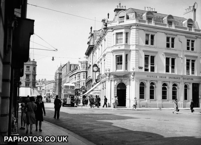 Picture taken from the Palace Square, Brighton, showing the Norwich Union Insurance Society Building in Palace Place and looking toward North Street.
