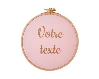 Cadre en bois et tissu à personnaliser - Prénom, mot doux, slogan...