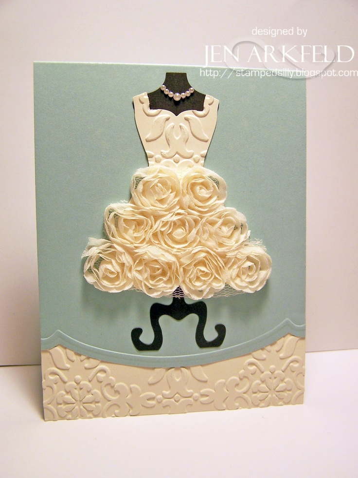 How easy it is to create a very elegant wedding or bridal shower card with Stampin' Up's Dress Form die and floral trim. Check out the All Dressed Up collection in our Spring 2013 Catalog! http://www.stampinup.com/ECWeb/ItemList.aspx?categoryid=1178