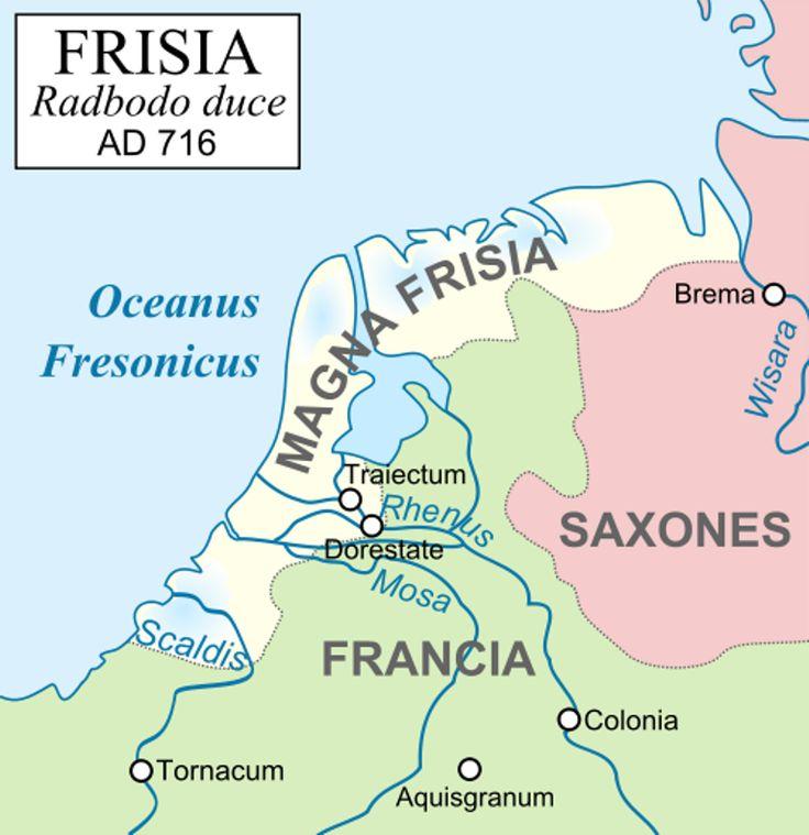 Kaart van het Friese Rijk toen het op zijn grootst was (650-734)