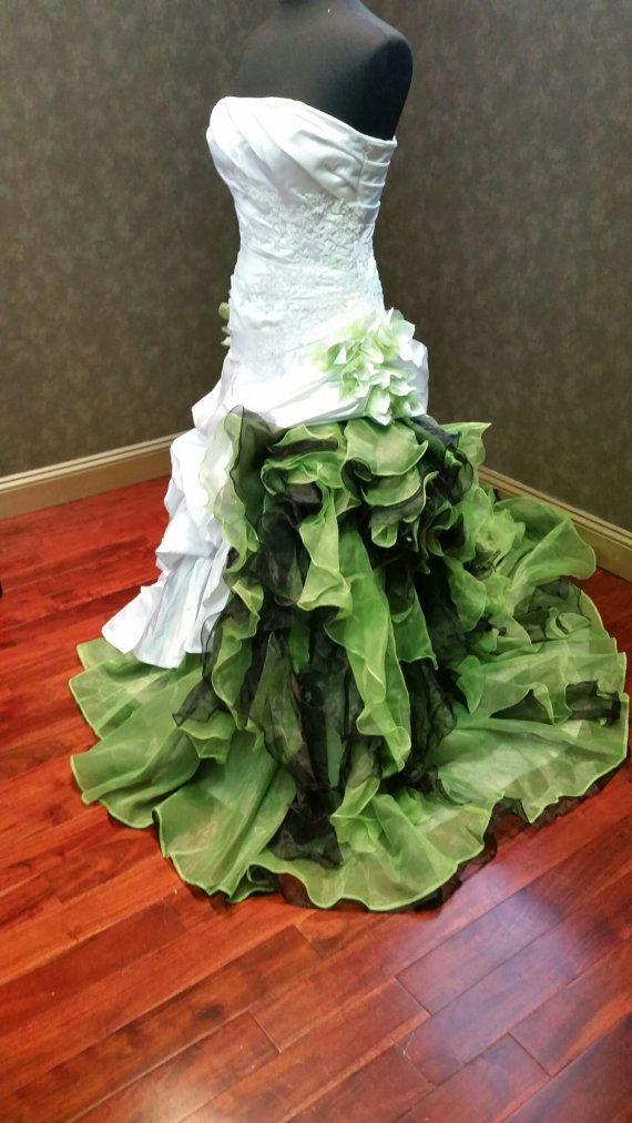Dip Dye White and Green Wedding Dress by WeddingDressFantasy