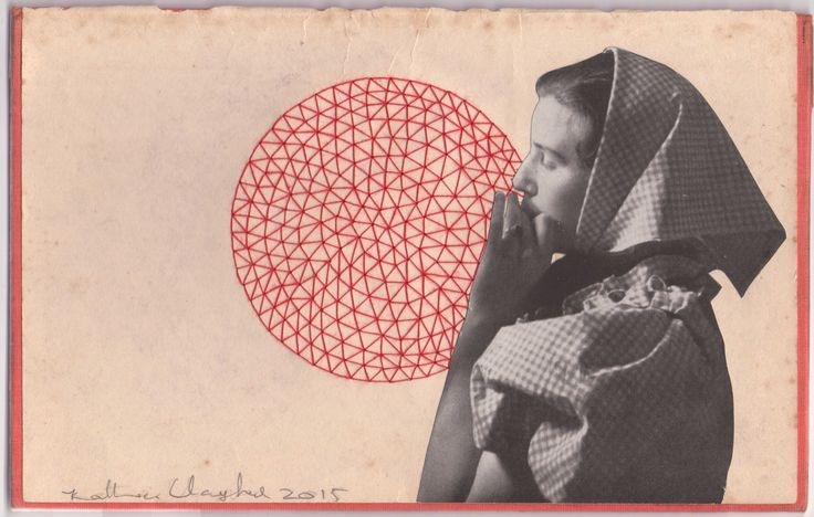 """""""The moon is a Balloon"""" ((big red). Katherine Claypole hand stitched thread drawing with collage 2016"""