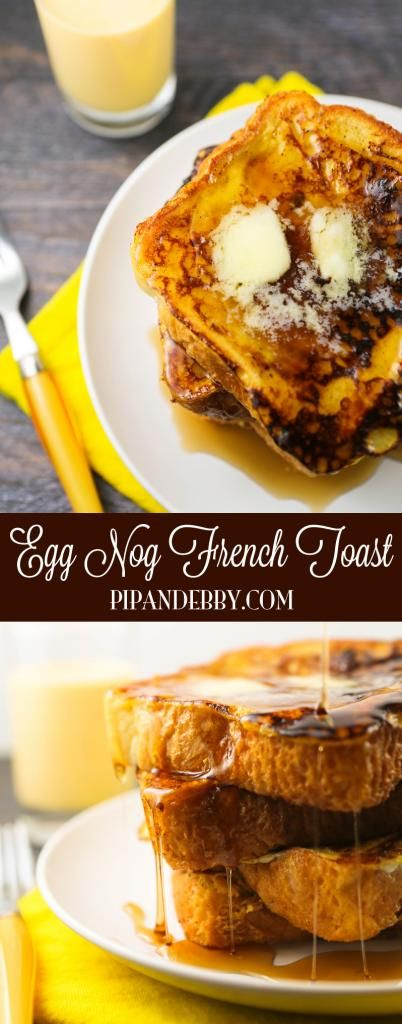 Egg Nog French Toast - use up your egg nog leftovers to make this EASY, delicious breakfast! So yummy!
