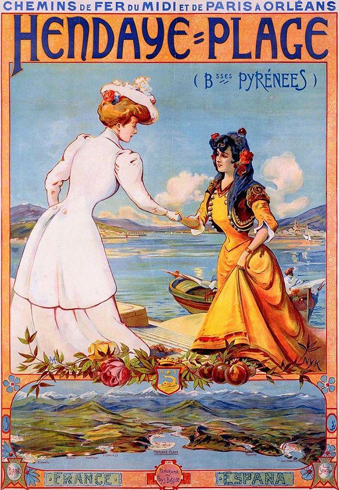 Affiche chemin de fer Midi et PO - Hendaye - Pyrénées -