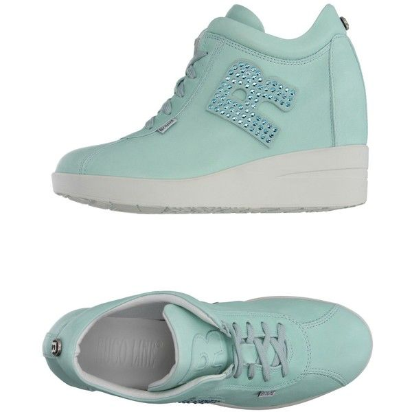 Ruco Line Sneakers ($155) ❤ liked on Polyvore featuring shoes, sneakers, turquoise, rubber sole shoes, ruco line, hidden wedge heel sneakers, wedge heel sneakers and wedge sole shoes