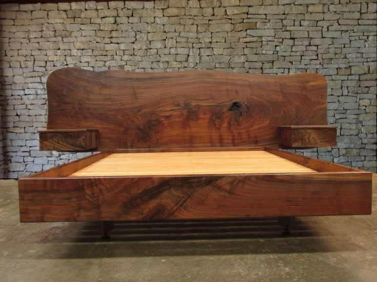 Custom Made Claro Walnut Slab Headboard, Bed, California King Frame And Floating Side Tables