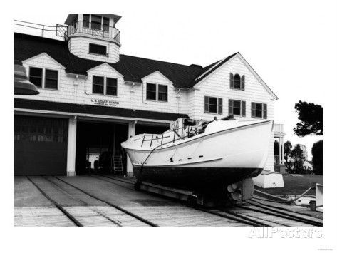 Lifeboat Art Print of the boathouse at USCG Station Humboldt Bay, with a 36-ft motor lifeboat on the marine railway. These were the last wooden lifeboats built by the Coast Guard, and they were built over a longer period of time than any other Coast Guard boat (1937-1956)