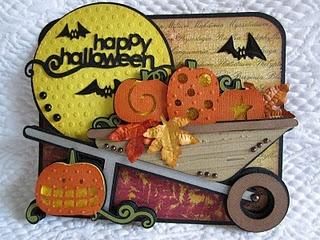 wagon from Walk in my Garden. love all the pumpkins & big moon