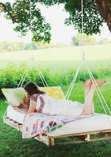 Custom made hanging pallet bed hammock swing