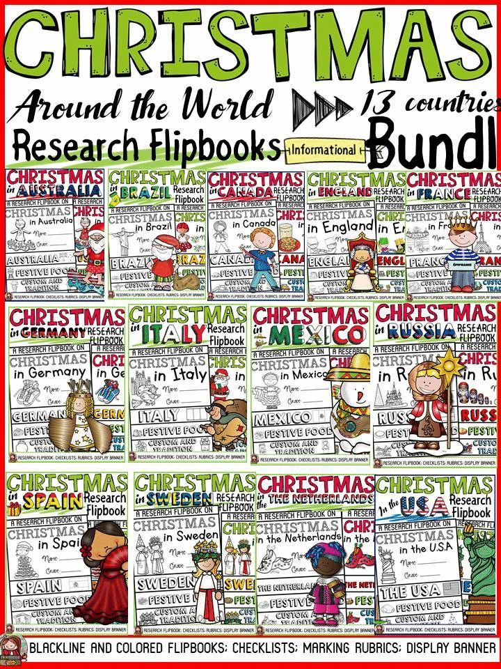 Have your students practice research writing skills by collating and recording information in these flipbook templates on Christmas Around the World featuring 13 countries. The titles, pictures and writing prompts for each section of the flipbook scaffold writing and research. Student checklists, Teacher Marking Rubrics and Display Banners also included. https://www.teacherspayteachers.com/Product/CHRISTMAS-INFORMATIONAL-REPORT-WRITING-RESEARCH-FLIPBOOKS-BUNDLE-3517090