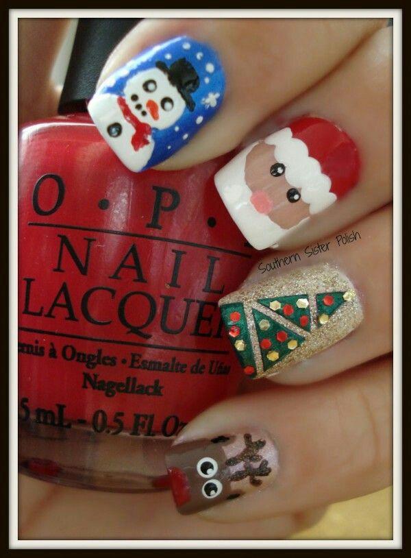 Uñas navideñas | nails | Pinterest | Xmas nails, Winter nails and ...