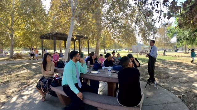We're meeting in a park next to a lake (of reclaimed water) called Lake Balboa. I feel like Jesus preaching next to the lake. We are called Lighthouse Church, but I have taken to calling us C…