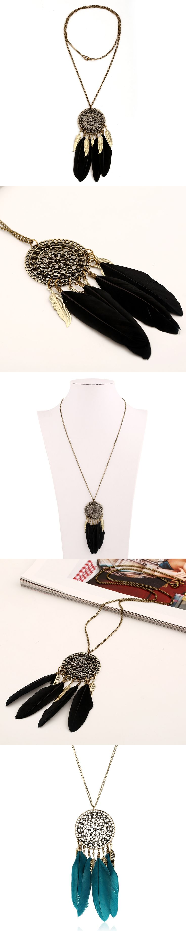 Vintage  Feather Leaves Long Pendant Necklace Hollow Carved Chain Maxi Collier Necklace Gros Collar Femme 2016 Women Jewelry