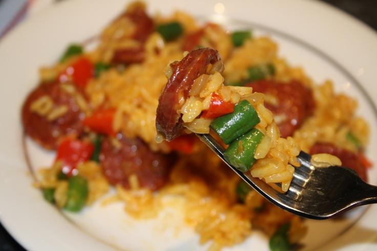 chorizo and green bean pilaf | [misslollylovesfood] | Pinterest
