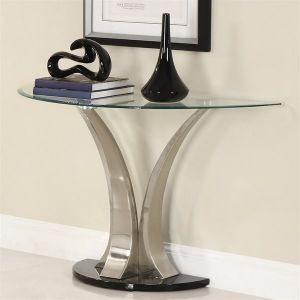 Homelegance Charlaine Sofa Table   Mirrored Glass Console Table